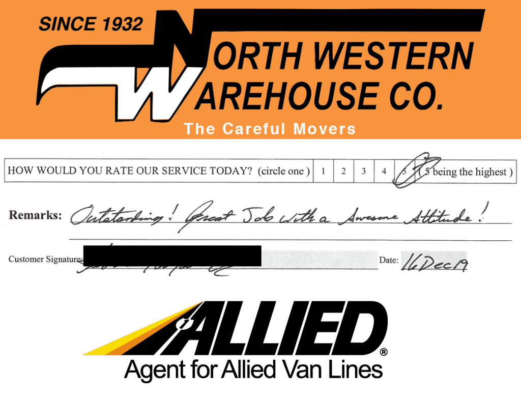North Western Warehouse - Allied Moving Customer Review